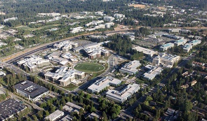 Vista aérea del Campus de Microsoft en Redmond