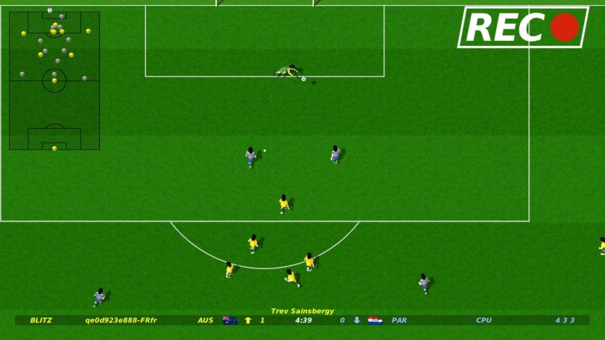 Vista cenital de un partido en Dino Dini's Kick Off Revival