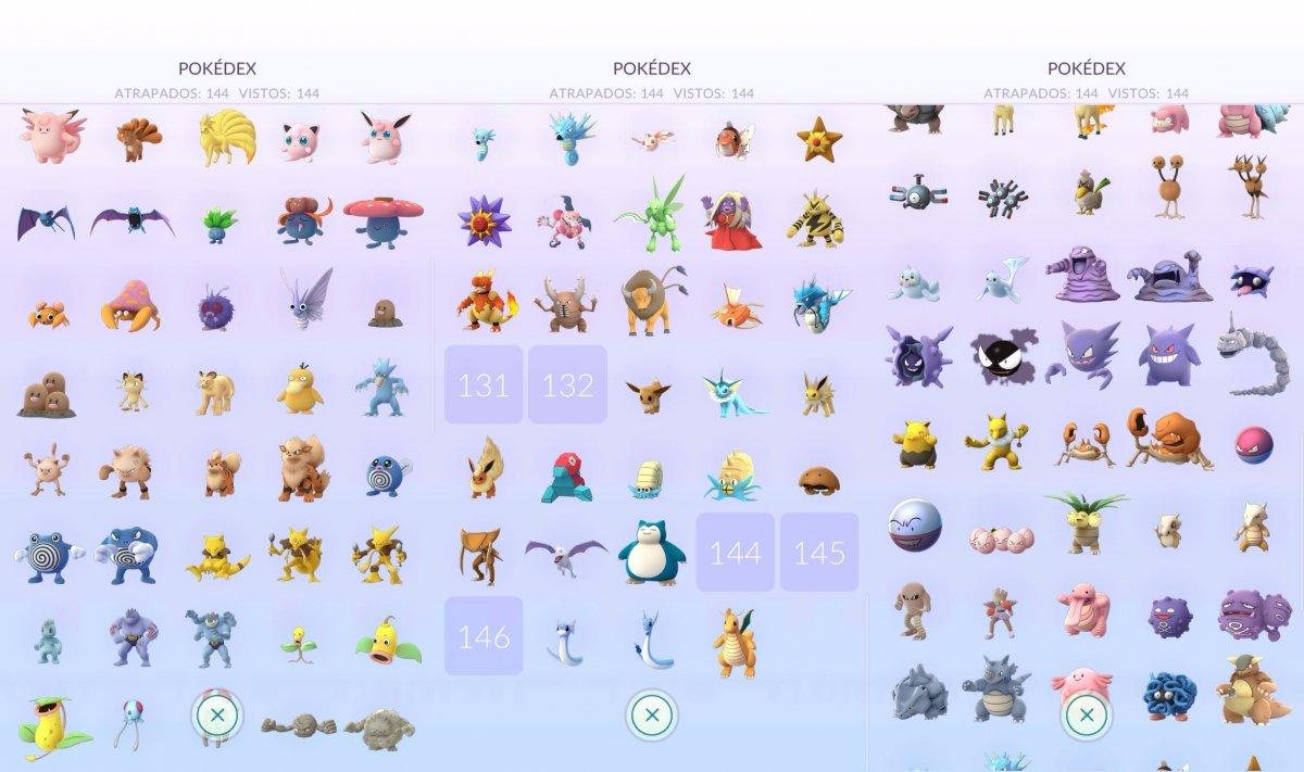 Vista de la Pokédex de Pokémon GO