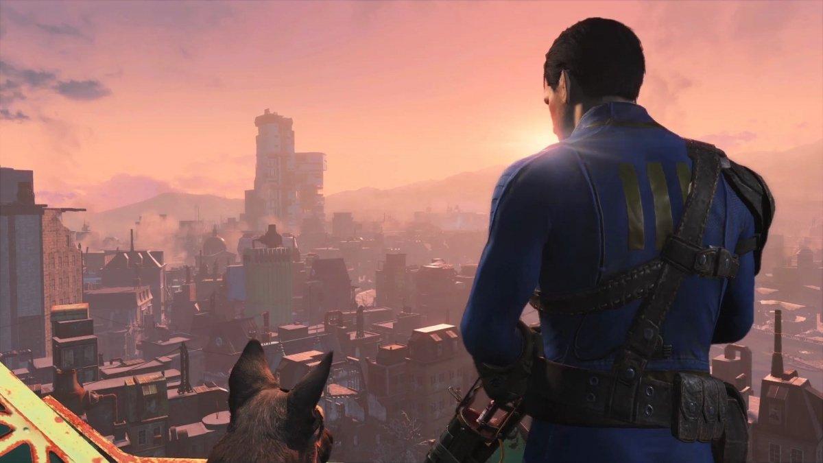 Vista de una ciudad en Fallout 4