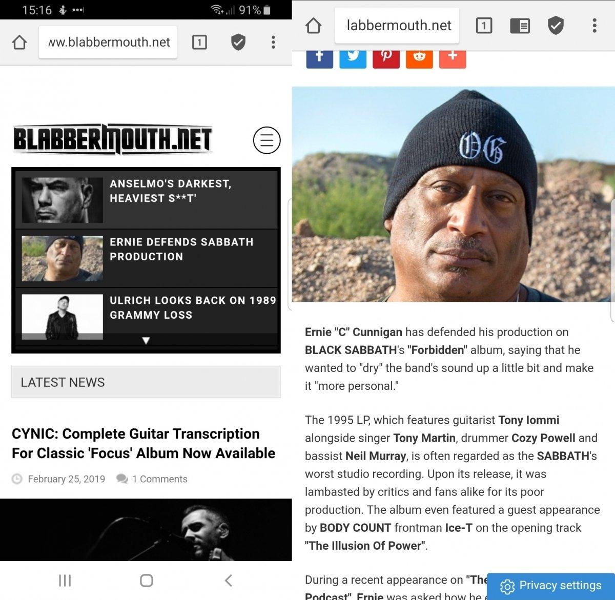Vista de una web musical en Adblocker Browser