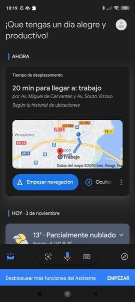 Vista del día ofrecida por el Asistente de Google