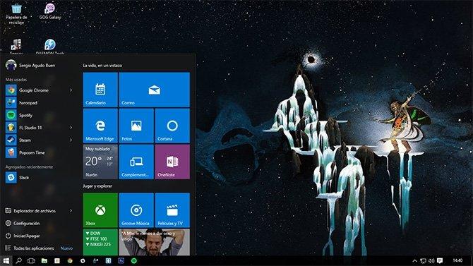 Vista del escritorio de Windows 10