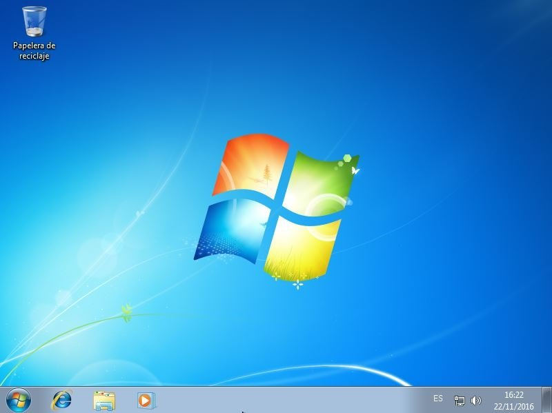 Vista del escritorio en Windows 7