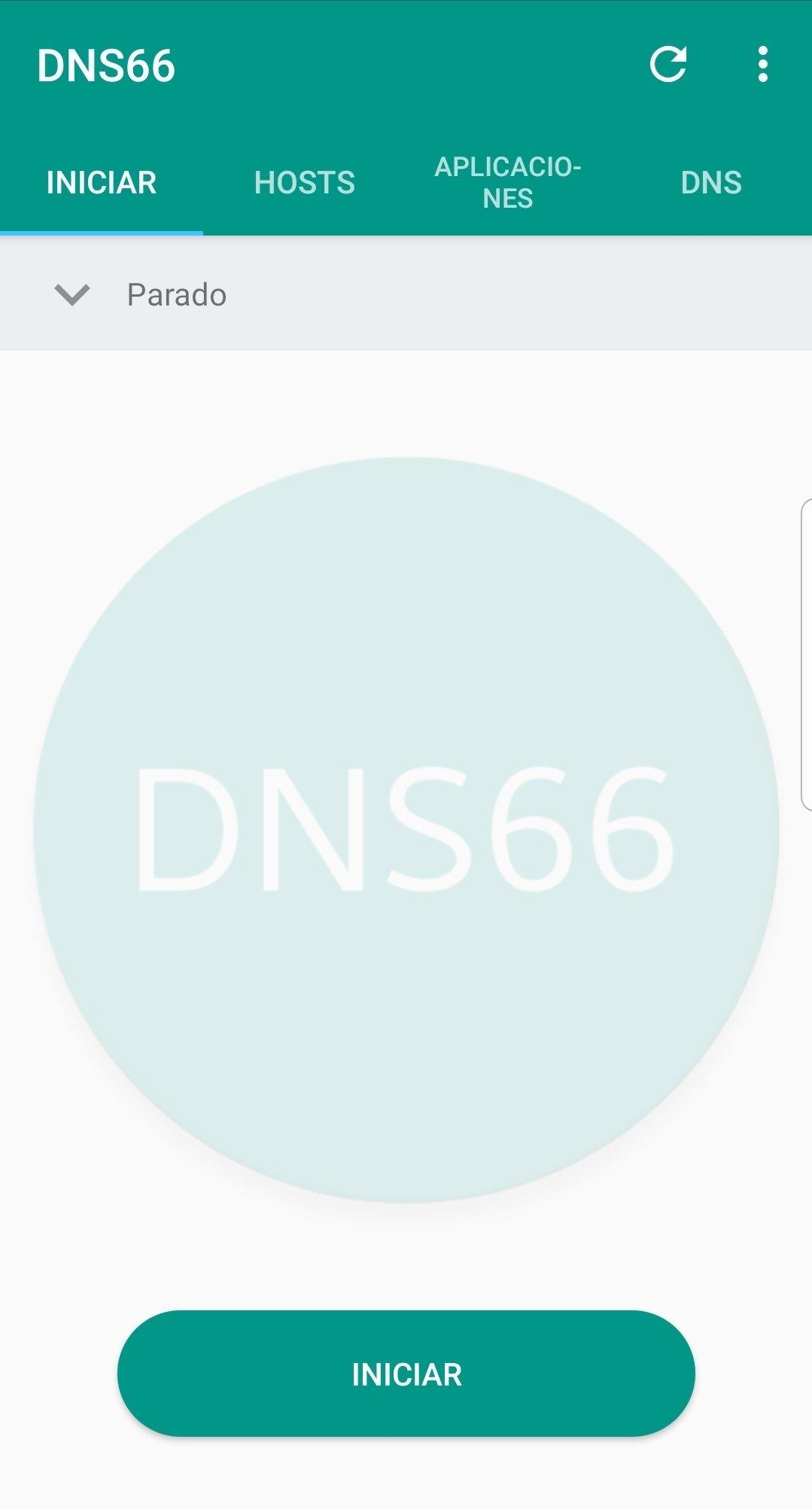 Vista principal de DNS66
