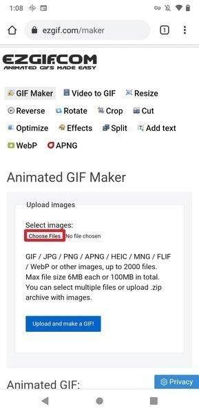 Vista principal de EZGIF Maker