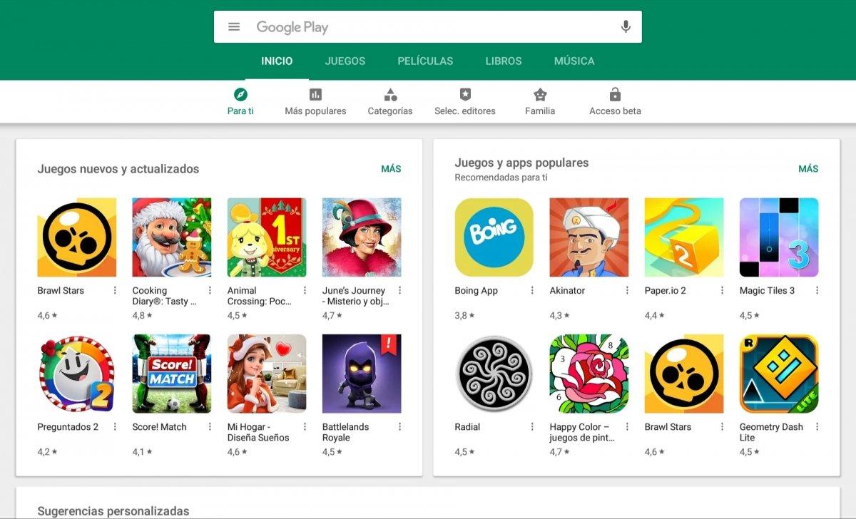 Vista principal de Google Play