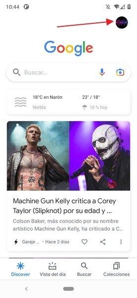 Vista principal de la app de Google