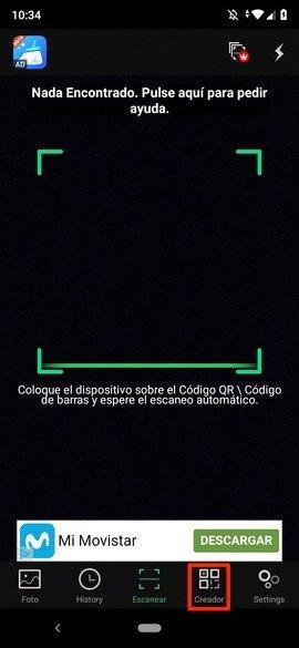 Vista principal de QR Scanner