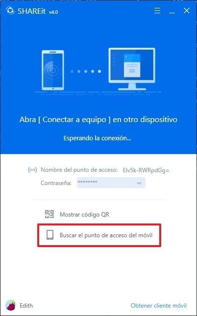 Vista principal de SHAREit en Windows