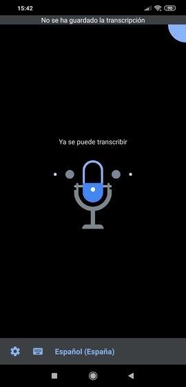 Vista principal de transcripción instantánea