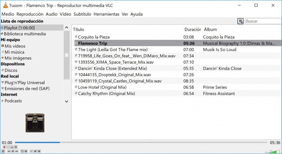 VLC al reproducir archivos de música