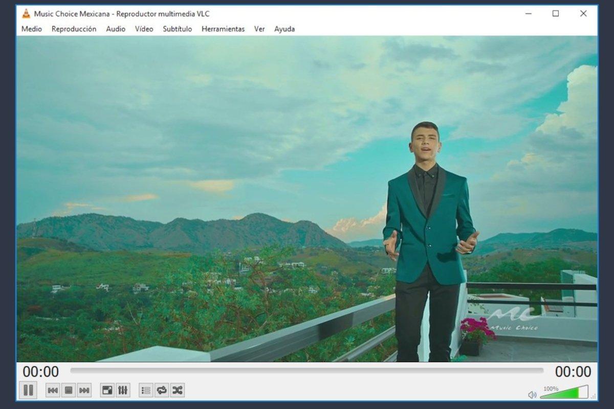 VLC reproduciendo un canal de TV de música