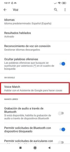Voice Match en los ajustes de Google