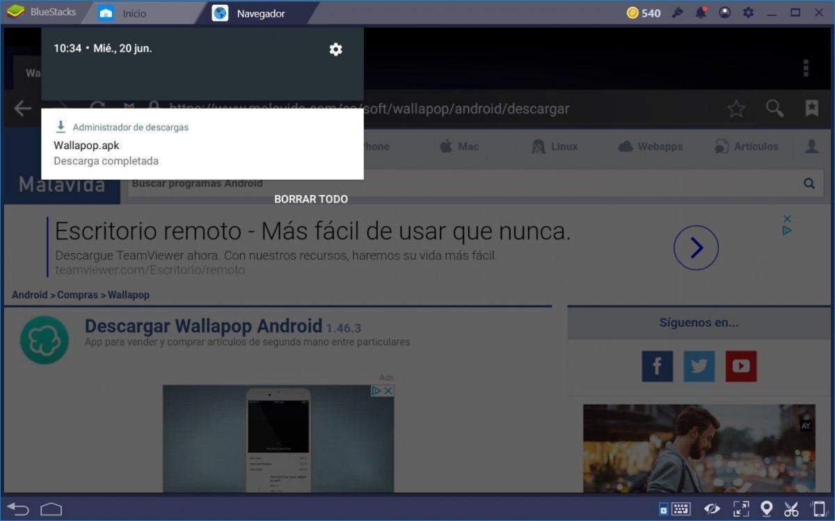 Wallapop descargado en BlueStacks desde Malavida