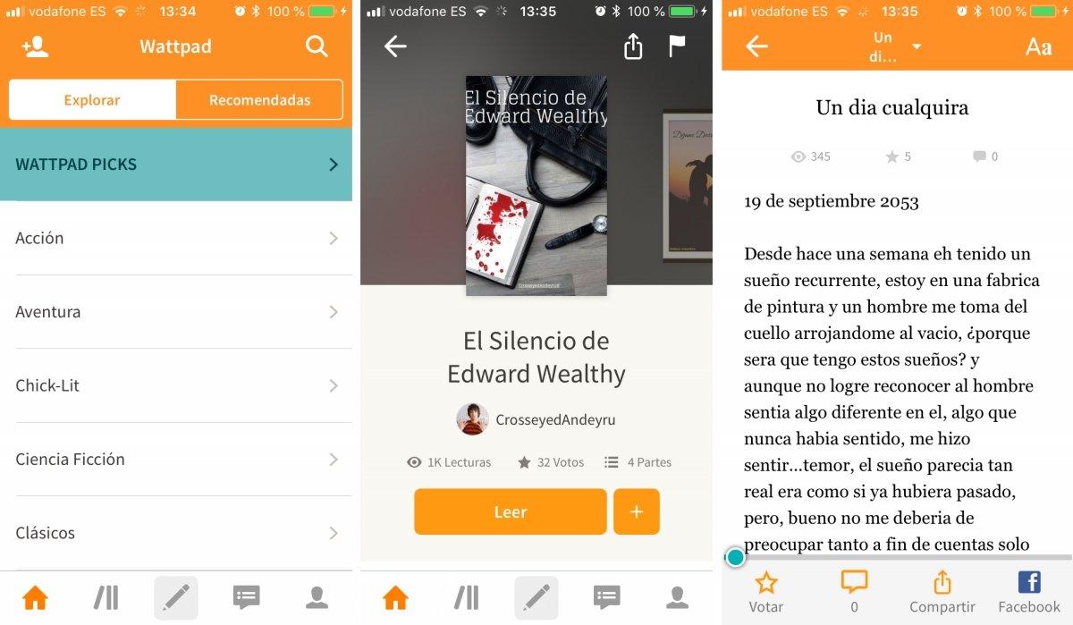 Wattpad ofrece historias para iPhone