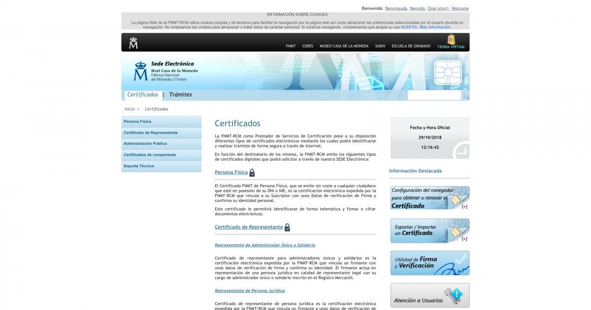 Web de la Fábrica Nacional de Moneda y Timbre