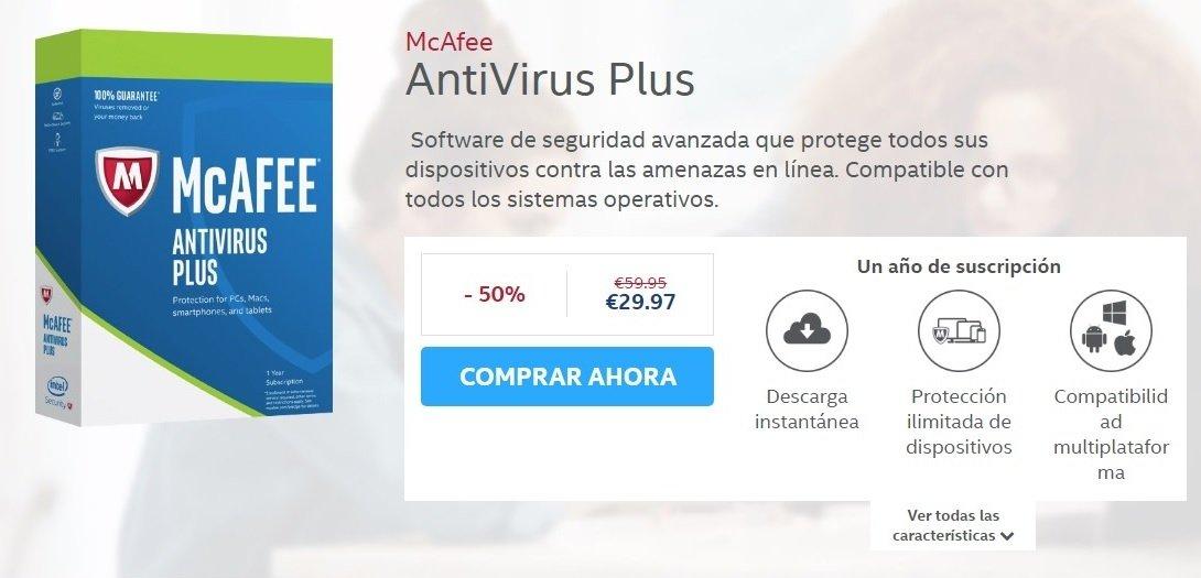 Web donde adquirir McAfee Antivirus Plus