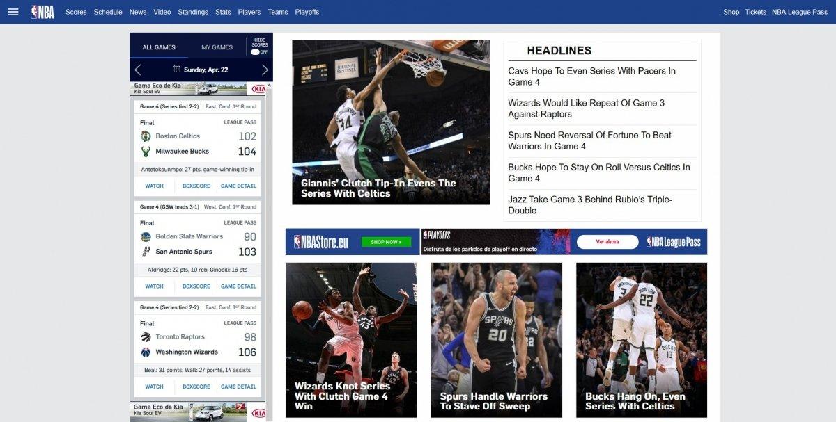 Web oficial de la NBA