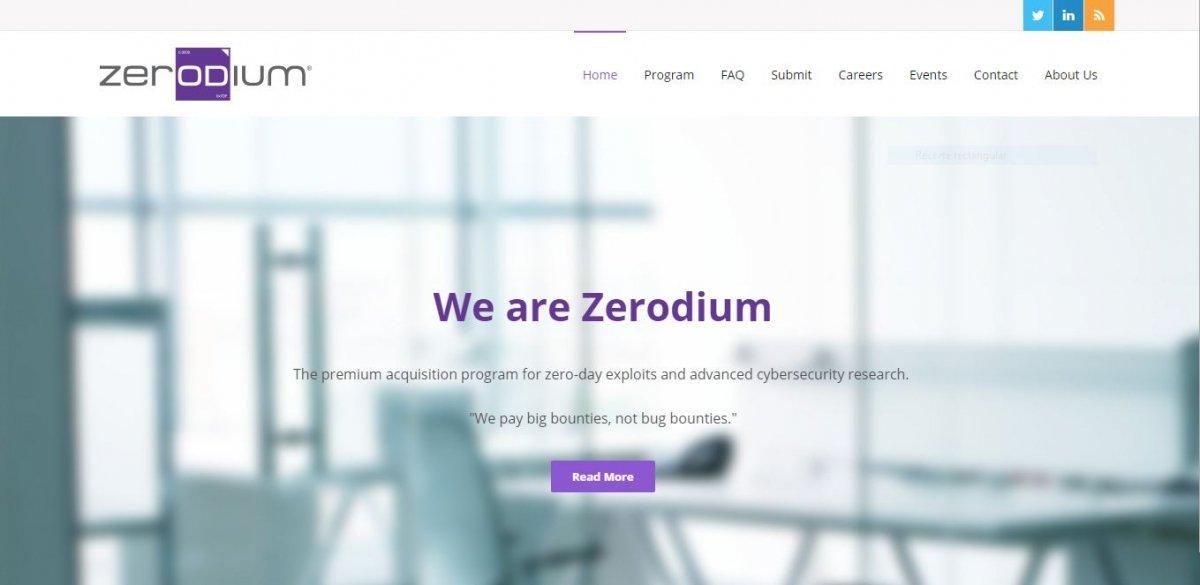 Web oficial de Zerodium
