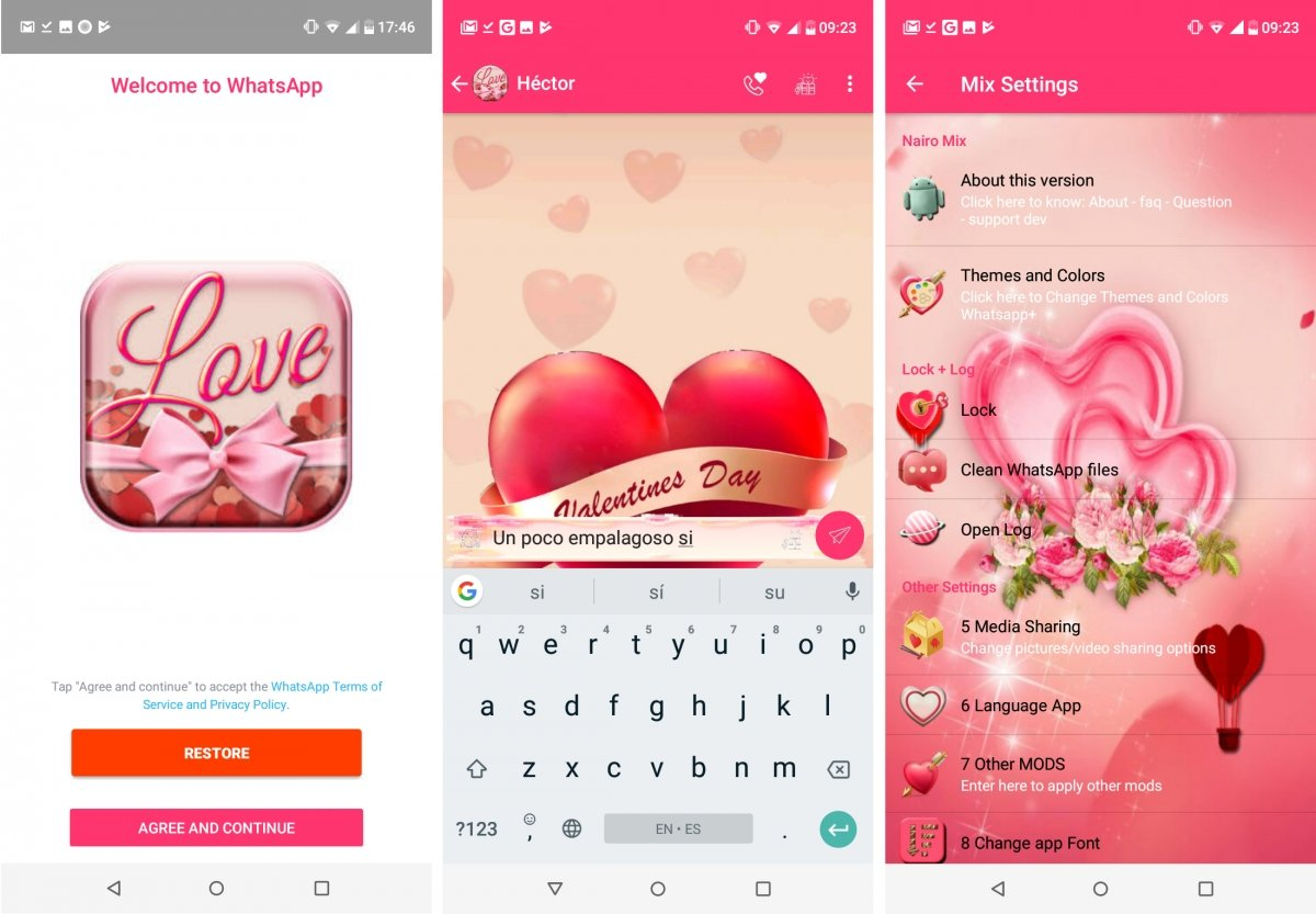 WhatsApp Mix tiene una interfaz de tema amoroso