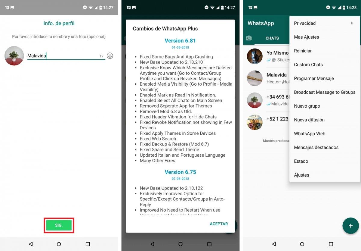 WhatsApp Plus tras importar la copia de seguridad