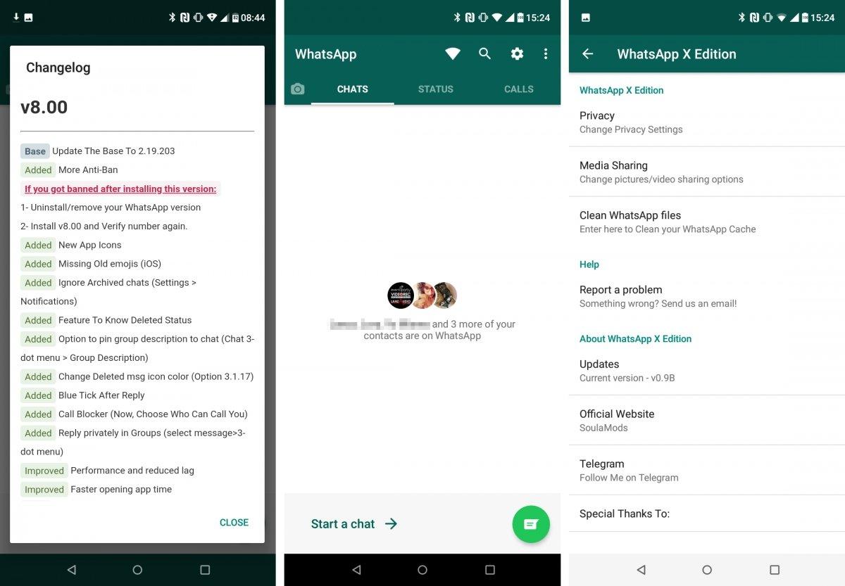 WhatsAppX es un MOD con opciones extra básicas