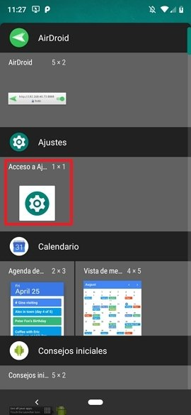 Widget de Ajustes en Android