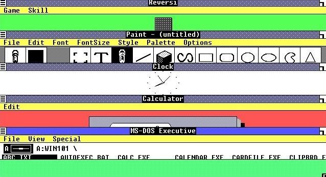 Windows 1.0 era multiventana y permitía los accesos directos