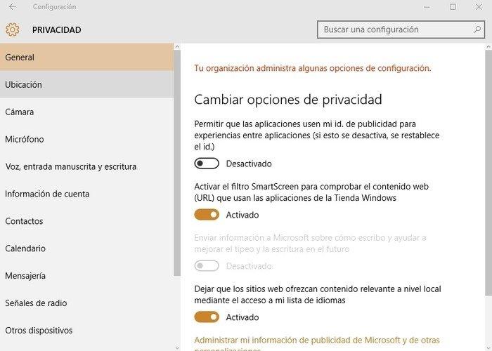 La privacidad en Windows 10