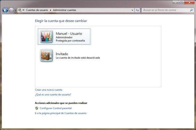 Windows 7 Cuentas de usuario