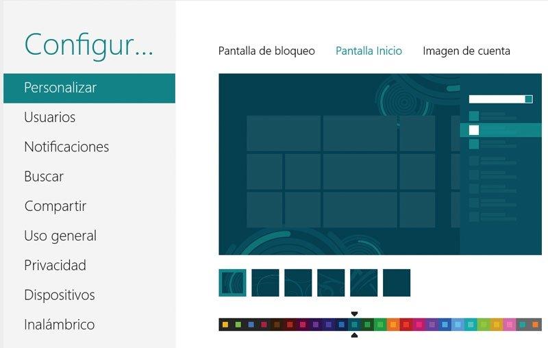 Windows 8 pantalla de inicio
