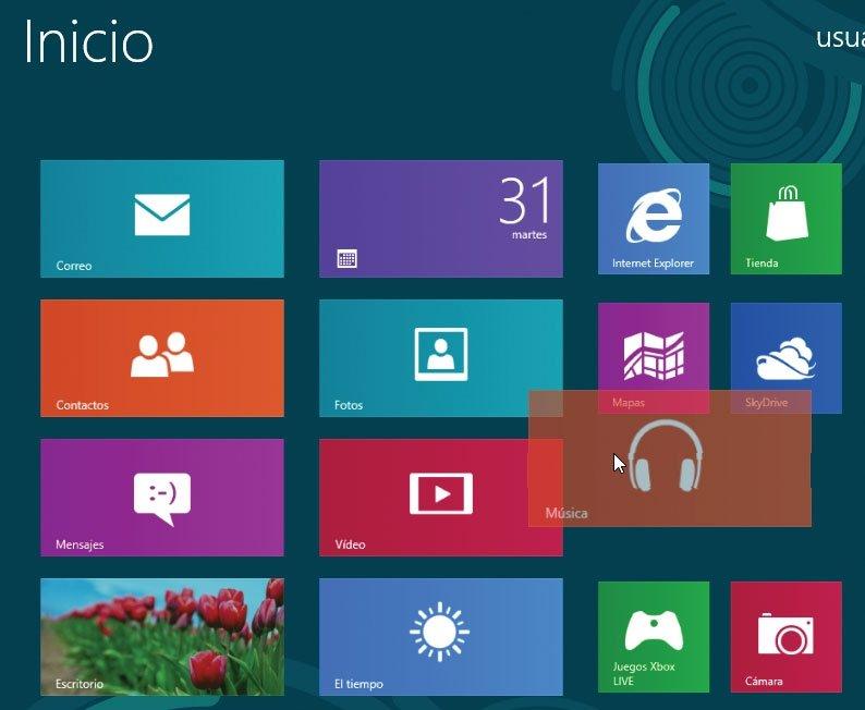 Windows 8. Reordenar aplicaciones
