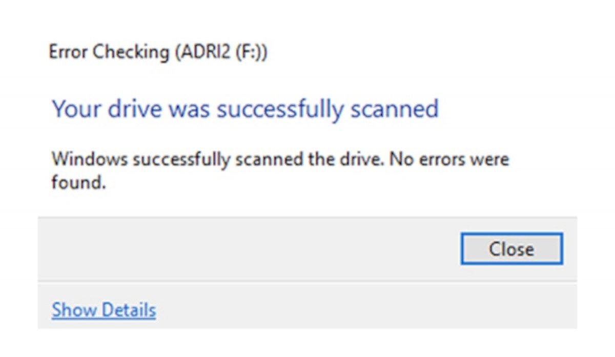Windows nos informa de que el escaneo se ha realizado exitosamente