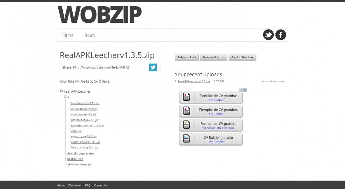 Wobzip descomprime ficheros de hasta 200 MB