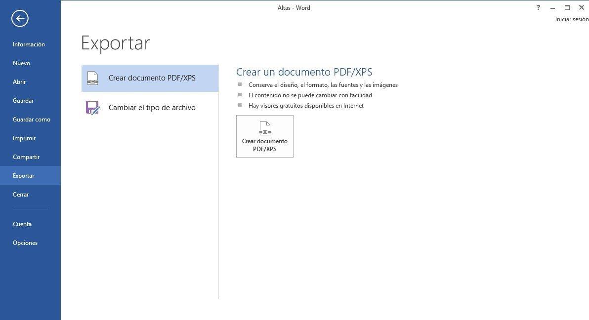 Word a través de 'Exportar' permite convertir documentos a formato PDF