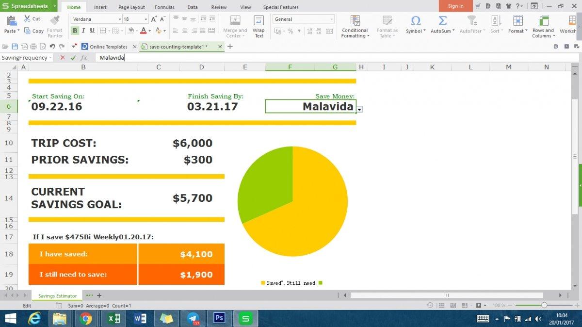 WPS Writer funcionando sobre Windows 8
