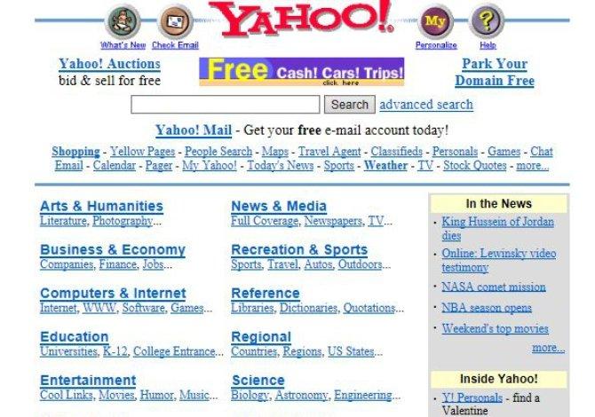 Yahoo! ya en 1998 comenzaba a saturar su portal de búsquedas y noticias