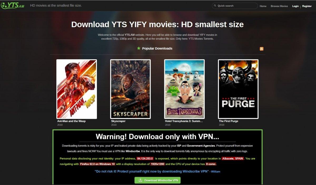 YTS YIFI ofrece pelis en HD con poco tamaño