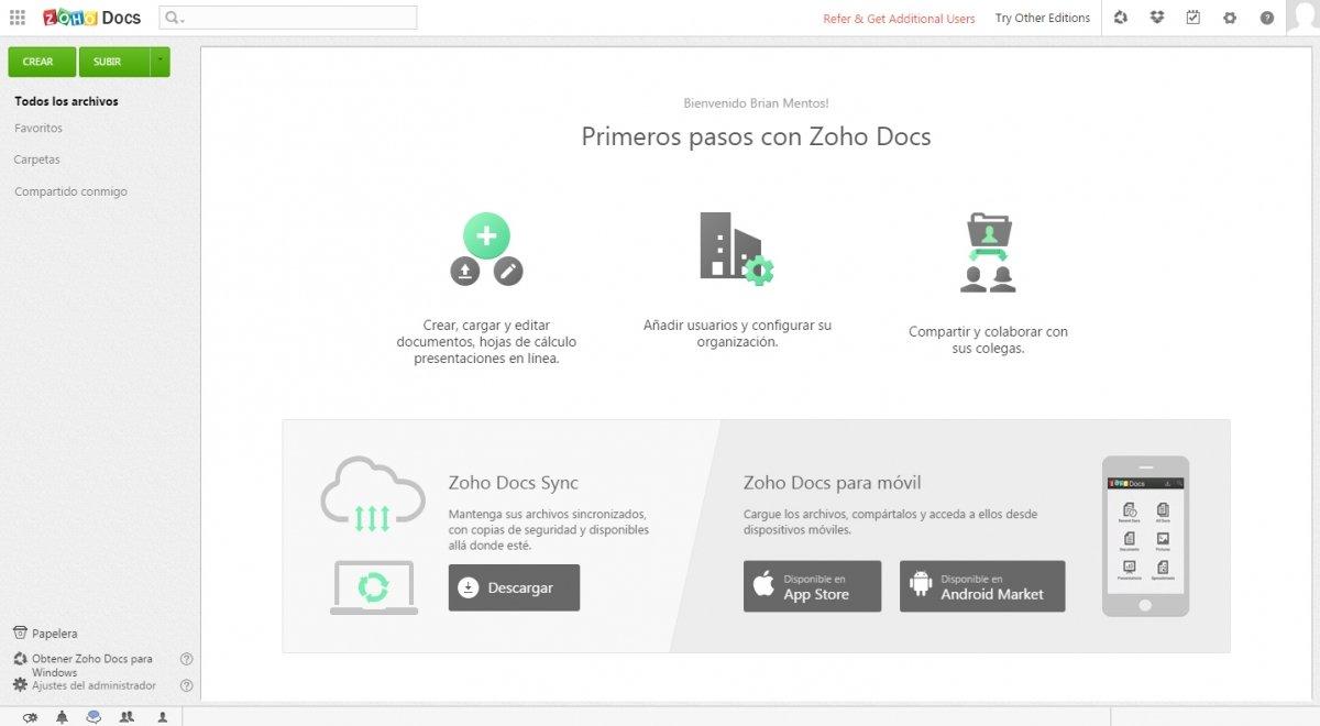 Zoho Documents permite crear documentos, presentaciones y hojas de cálculo