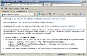 Internet Explorer 8 accediendo a Windows Update