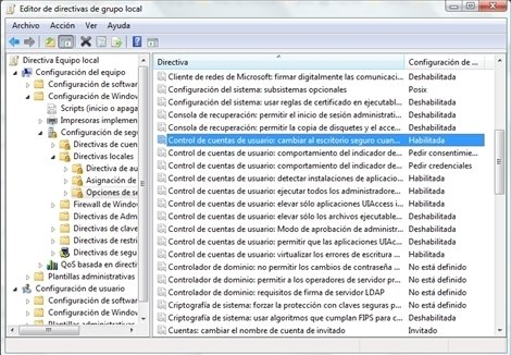 Windows 7 UAC Registro