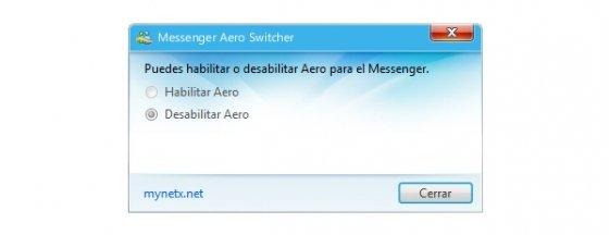 Deshabilitar Aero con Messenger Aero Switcher
