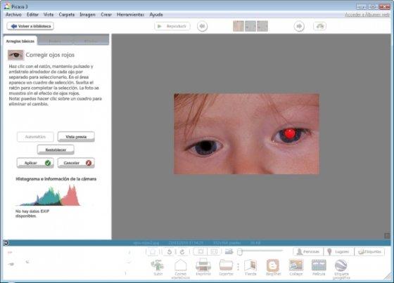 Eliminar ojos rojos en Picasa