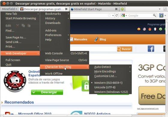 Firefox 4.0 menú