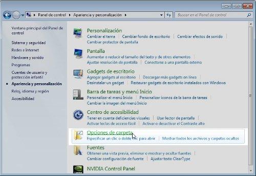 ver archivos ocultos windows 7