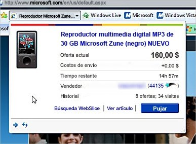 Vista previa de Web Slice en Internet Explorer