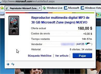 Vista previa de Web Slice en Internet Explorer