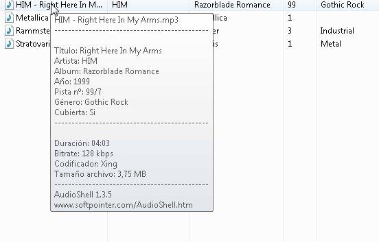 Etiquetado de MP3 con AudioShell
