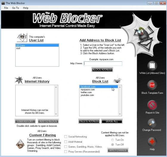 Bloquear el acceso a páginas web